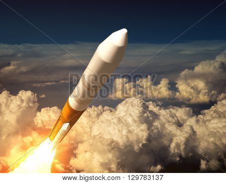 Cargo Launch Rocket In The Clouds. 3D Illustration.
