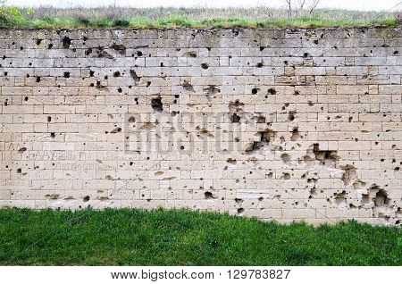 Architectural landmark - Wall at the entrance to the fortress Kerch
