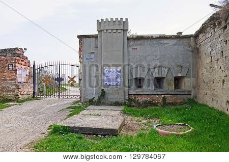 KERCH CRIMEA RUSSIA - APRIL 09: Architectural landmark - the entrance to the Fortress Kerch on April 09 2016 in Kerch Crimea Russia