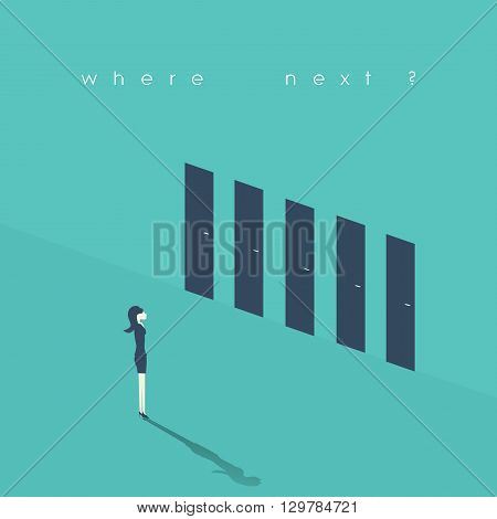 Businesswoman standing in front of doors as symbol for choice, career path or opportunities. Business decision concept illustration. Eps10 vector illustration.