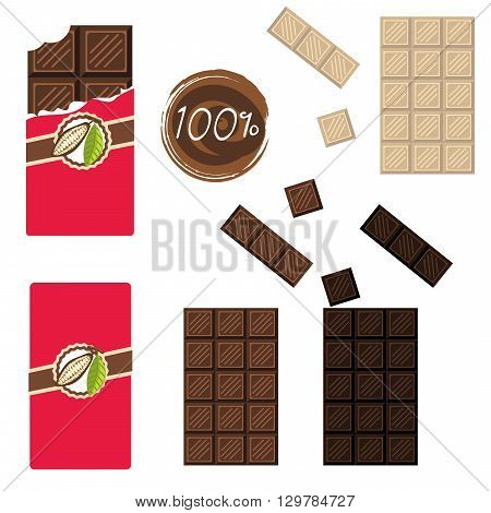 Bar of chocolate set. Sealed and open wrap. Milk, white and darc cocoa chocolate square.