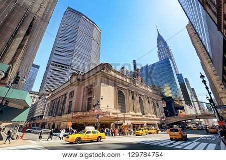 NEW YORK CITY - APRIL 14 2016: Rush of pedestrians outside historic Grand Central Terminal in NYC. The world's largest train station