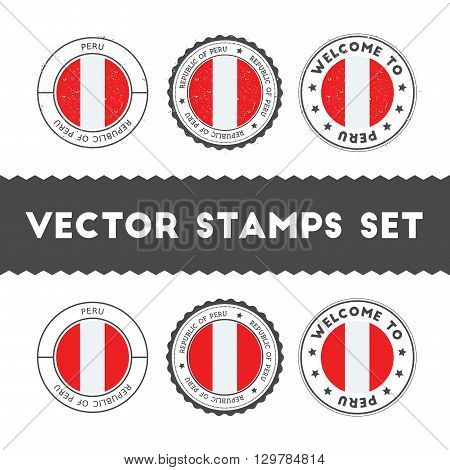 Peruvian Flag Rubber Stamps Set. National Flags Grunge Stamps. Country Round Badges Collection.