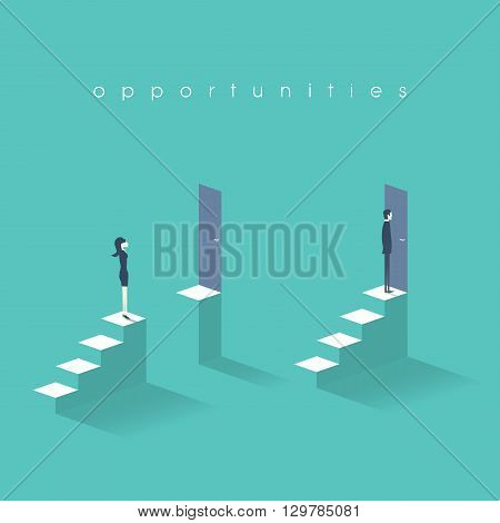 Equal opportunities business concept with businesswoman and businessman standing in front of doors on top of stairs. Eps10 vector illustration.