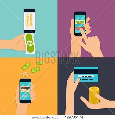 Flat design vector illustration concepts of online payment methods. Internet banking online purchasing and transaction electronic funds transfers and bank wire transfer.