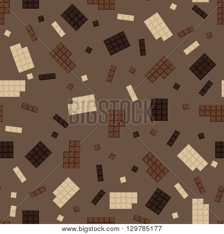 Chocolate bar seamless pattern. Milk and dark chocolate square tiles texture.