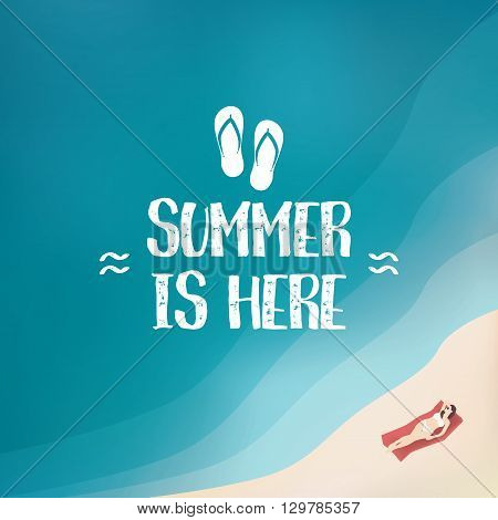 Summer background poster with sexy woman in bikini. Seasonal wallpaper of beach holiday. Eps10 vector illustration.