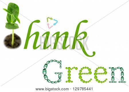 Think Green word from ring pull can and plastic screw cap