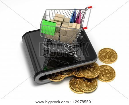 Concept Of Virtual Wallet With Bitcoins And Shopping Cart. 3D Illustration.