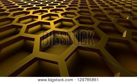 3D rendering golden color abstract cellular lattice background