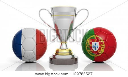 3d rendering of a  Golden Silver trophy and soccer ball isolated on white with France and portugal flag