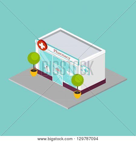Isometric Pharmacy Drugstore Shop Facade. Flat Style Vector Illustration.