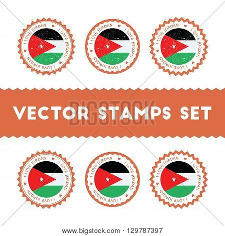 I Love Jordan Vector Stamps Set. Retro Patriotic Country Flag Badges. National Flags Vintage Round S