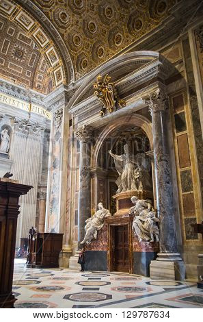 ROME, ITALY - APRIL 8, 2016:   Interior of the Papal Basilica of St. Peter in the Vatican