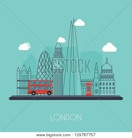 London. Skyline and vector landscape of buildings the capital of Great Britain. Big Ben bridge double decker and telephone. Vector illustration.