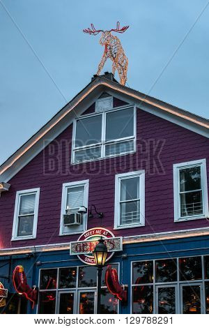 BAR HARBOR - JULY 9: Famous Geddy`s Pub in down town  on July 9, 2013 in Bar Harbor, Maine..