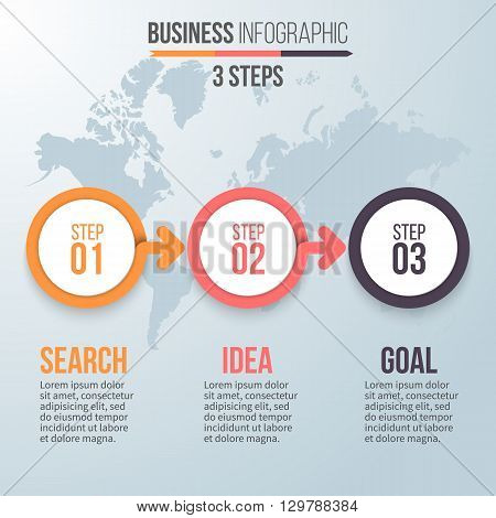 Three steps infographics. Business strategy, search ideas, success. Chart, diagram, graph with 3 steps, options, parts, processes with arrows. Vector design element.