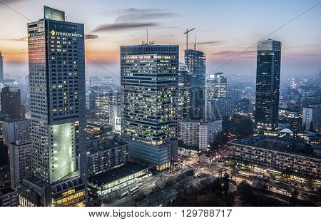 WARSAW POLAND - NOVEMBER 3 2015. Aerial view with InterContinental Hotel Warsaw Financial Center Spektrum Tower Q22 and Cosmopolitan building in Warsaw