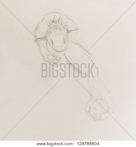 Monster drawing. pencil sketch on paper, Original hand draw