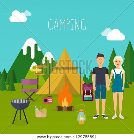 Camping and outdoor recreation concept with flat camping travel icons. Young people having a camping. Vector illustration.