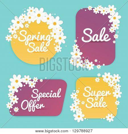 Spring Sale Banner Sale Poster Sale Flyer Sale Vector. Vector illustration.