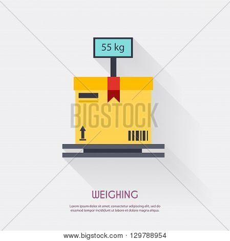 Weighing. Warehouse Icons Logistic Blank And Transportation, Storage Vector Illustration.