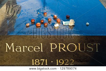 Paris France - September 30 2011: The Marcel Proust grave in the Pére Lachaise cemetery.