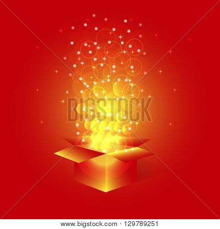 Bright magic box with stars.Box with surprise for holidays with glitter and confetti.