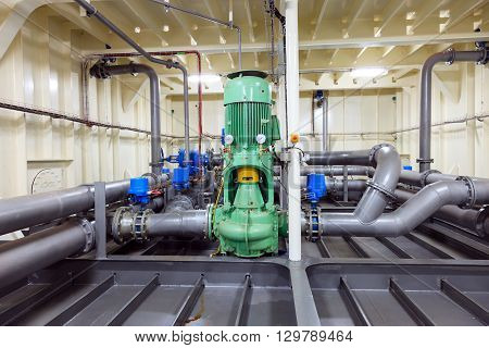 Water pump installed on drill ship - Industrial zone.
