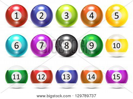Ivories, Billiard Balls Set Vector Illustration. EPS10