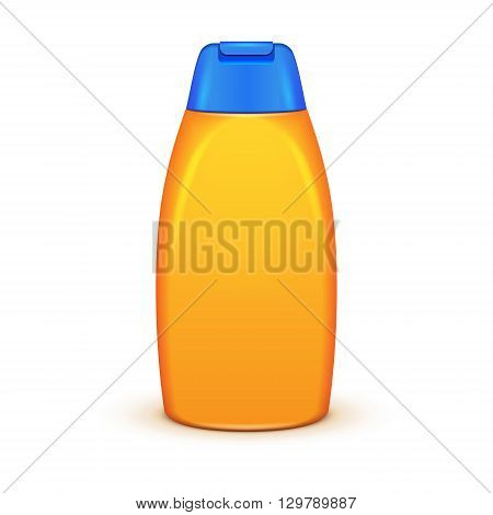 Oil Shower Gel Bottle Of Shampoo Yellow. Illustration Isolated On White Background. Mock Up, Mockup Template Ready For Your Design. Vector EPS10