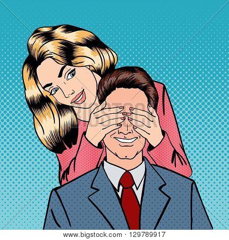 Woman closing her Man Eyes. Happy Couple Pop Art Vector illustration