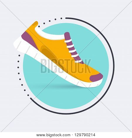 Running shoes icon.Shoes for training sneaker isolated on blue background. Flat design illustration.