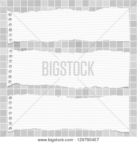 Horizontal ripped white lined notebook paper are stuck on gray squared pattern, wall.