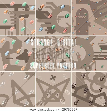 set of strange abstract stylized digital patterns