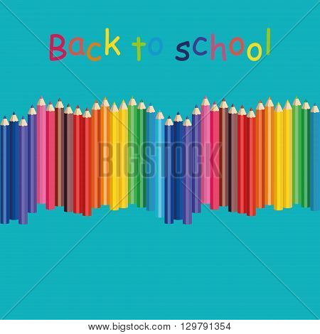 Seamless colored pencils row with wave on lower side. Color pencil. Pencil with color paint flows. Set of the color pencil. Color pencil with paint flows. Rainbow multicolored pencil.