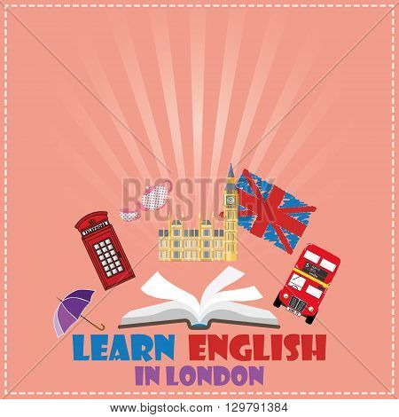 Concept of travel or studying English. Open book with English symbols - Big Ben, red bus, red telephone box. Flat design, vector illustration