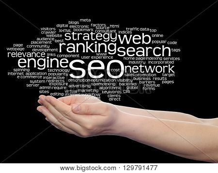 Concept or conceptual search engine optimization, seo abstract word cloud in hand isolated on background