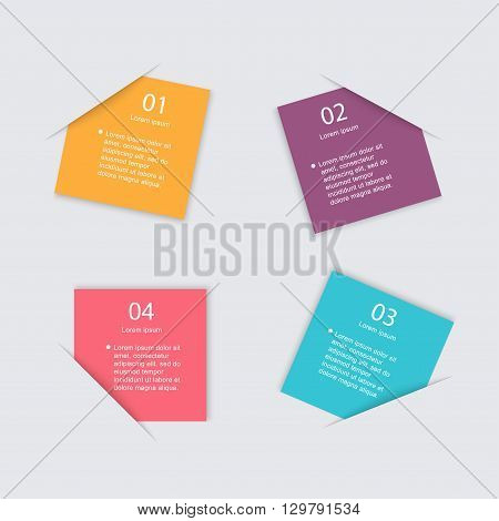 Vector colorful info graphics for your business presentations. Can be used for info graphics graphic or website layout vector numbered banners diagram horizontal cutout lines web design.