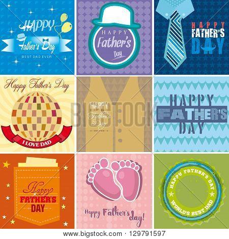 Set of nine mnemonics for Fathers day celebration