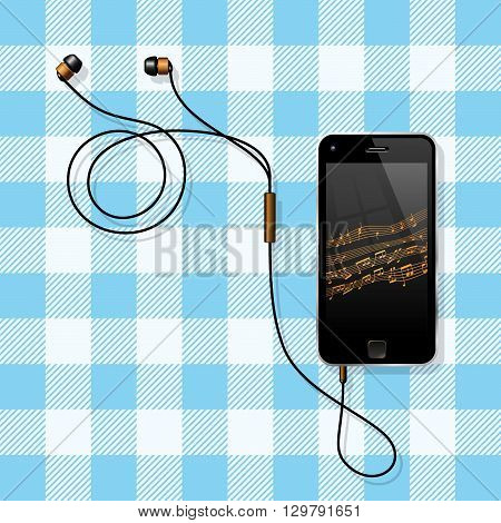 Smart Phone On The Table. Semi-Realistic Vector Illustration Of A No Name Smart Phone With Its Earphones Lying On A Table