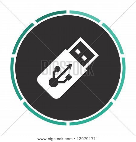 USB flash drive Simple flat white vector pictogram on black circle. Illustration icon