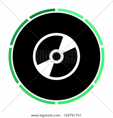 CD DVD Simple flat white vector pictogram on black circle. Illustration icon