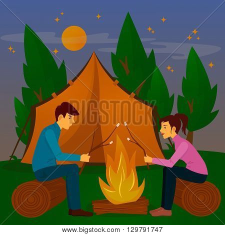 Summer Camp. Man and Woman sitting by Fireplace with Marshmallow. Vector illustration