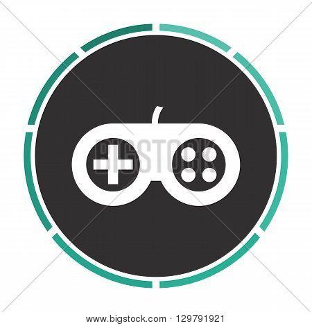 Joystick Simple flat white vector pictogram on black circle. Illustration icon