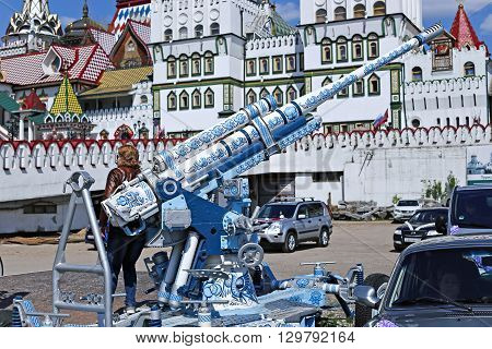 MOSCOW, RUSSIA - MAY 7, 2016: Cannon painted in the style of traditional Russian Khokhloma in the Izmailovo Kremlin in Moscow