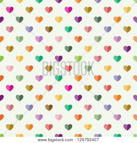 Seamless pattern with small multicolour hearts on light background