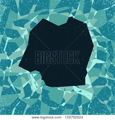 stylized vector cracked surface pattern with big hole