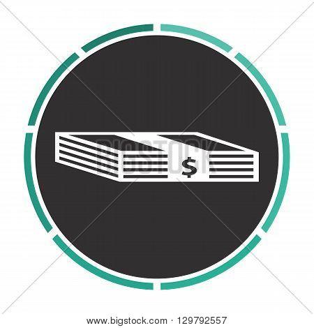 Bundle of Dollars Simple flat white vector pictogram on black circle. Illustration icon