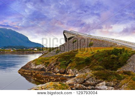 Fantastic bridge through fjord on the Atlantic road in Norway - travel background